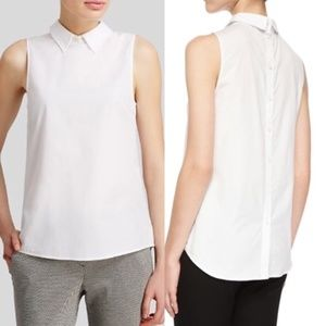 Theory Marbie Peter Pan Collar Button Back Top L
